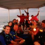 Night Dive. MSDT students and staff exited about learning about night diving teaching techniques