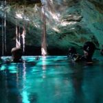IDC and Staff instructor surfacing in air pocket. Fantastic place to dive these amazing underground systems