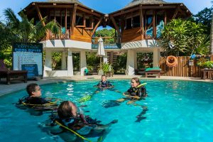 Dive Instructor job in a small group with the best swimming pool at Sairee Cottage, Koh Tao, Thailand